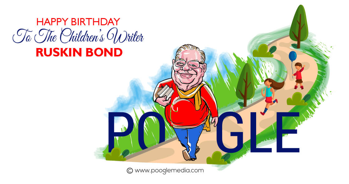 Happy Birthday Doodle to Ruskin Bond - India's beloved children's author   !