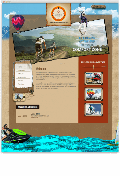 Planet Adventure Club - WEB DESIGN WORK